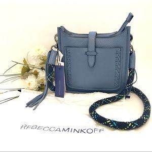 Blue Rebecca Minkoff Leather Feed Crossbody Bag